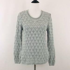 Croft Barrow Sweater Pullover Crochet Knit Gray